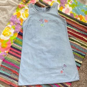 BUTTERFLY EMBROIDERED PINAFORE DRESS size L